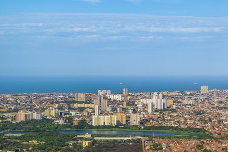 brasil: Aerial view from window plane of Fortaleza city, Brasil Stock Photo