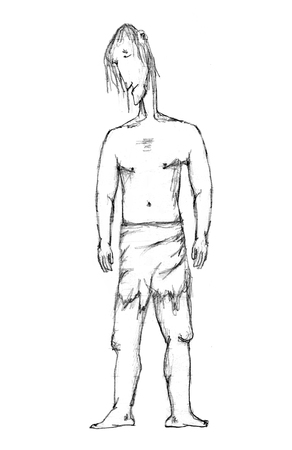man full body: Black and white pencil drawing caricature illustration depicting a full body portrait of adult primitive man with sad expresion in side view shot Stock Photo