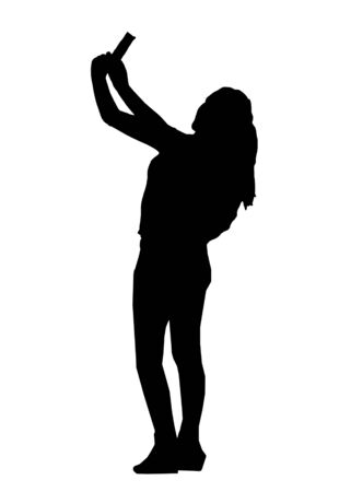 over white: Silhouette illustration side view of adult young woman with taking a selfie over white background