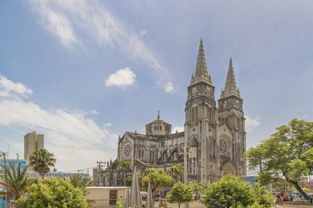 Exterior view of metropolitan cathedral of Fortaleza, Brazil