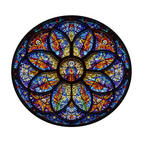 Rosette windown mozaïek religieuze kunstwerk geïsoleerd op een witte achtergrond
