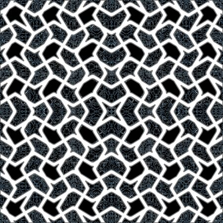 interlaced: Digital art style oriental style interlaced abstract geometric seamless pattern mosaic in blue and white colors