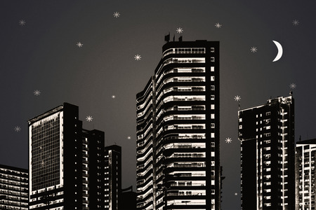 illustration technique: Photo illustration technique low angle view cityscape scene of modern buildings against starry night sky