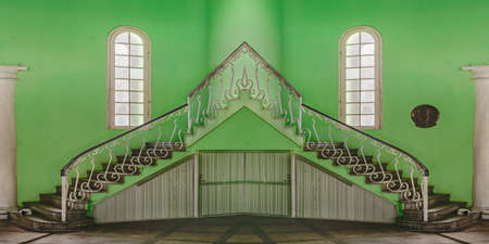 eclectic: Digital photo manipulation technique of eclectic style elegant interior building with unusual green color wall Stock Photo