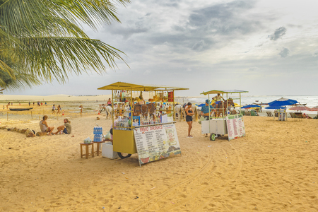 the stands: JERICOACOARA, BRAZIL, DECEMBER - 2015 - Drinks stands at beach in Jericoacoara Brazil