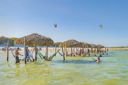 JERICOACOARA, BRAZIL, DECEMBER - 2015 - People bathing at Lagoa do Paraiso in Jericoacoara in Brazil Editorial