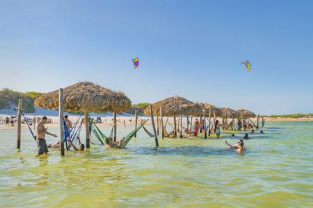 JERICOACOARA, BRAZIL, DECEMBER - 2015 - People bathing at Lagoa do Paraiso in Jericoacoara in Brazil Publikacyjne