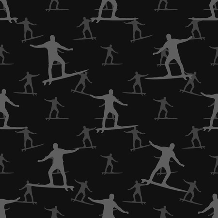 conversational: Conversational style surfer motif seamless textile pattern design in black and white colors.