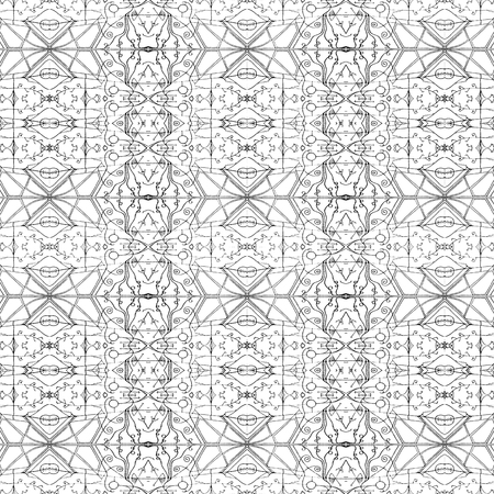 Mixed media technique ornate seamless pattern design in black and white colors