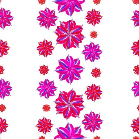 Digital photo collage and manipulation technique vertical stripes floral collage motif seamless pattern design in mixed red and purple tones against white background