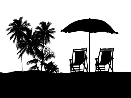 against white: Isolated chairs and umbrella silhouette against white background
