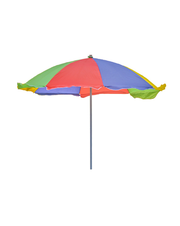 Frong view of multicolored umbrella isolated on white backgrofun