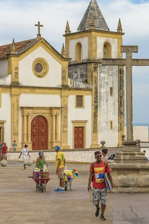 colonial church: Exterior view facade of antique colonial church building located in Olinda, Pernambuco, Brazil