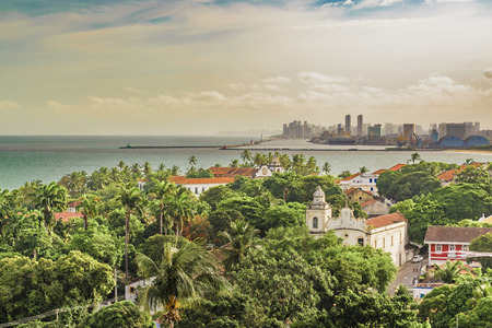 Aerial view landscape of Recife skyline and Olinda in Pernambuco, Brazil