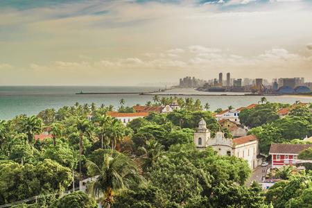 Aerial view landscape of Recife skyline and Olinda in Pernambuco, Brazil