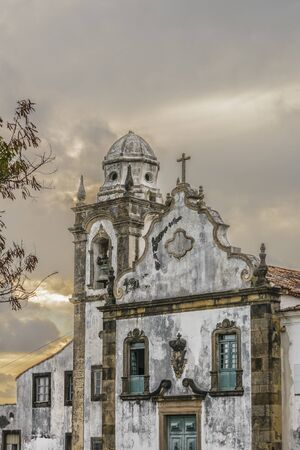 Exterior view facade of antique colonial church building located in Olinda, Pernambuco, Brazil