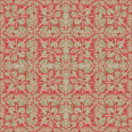 Digital photo collage and manipulation technique stylized nature floral collage motif seamless ornate pattern mirrored mosaic in warm tones