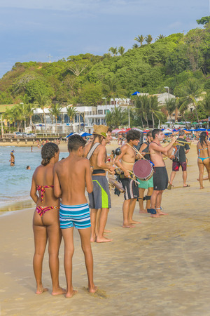 PIPA, BRAZIL, JANUARY -  2016 - Crowded beach in Pipa, a touristic watering place located in Brazil, South America