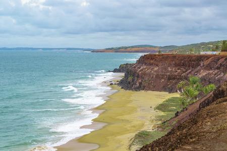Aerial view landscape scene of empty beach at Pipa, Brazil