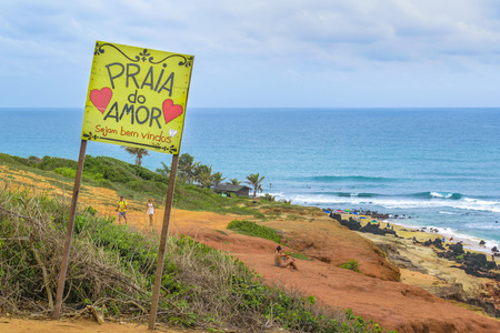 PIPA, BRAZIL, JANAURY - 2016 - Landscape scene at Praia do Amor beach at Pipa, a watering place located in Brazil Editorial
