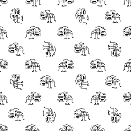 conversational: Conversational seamless pattern design with tribal demon drawing motif in black and white colors