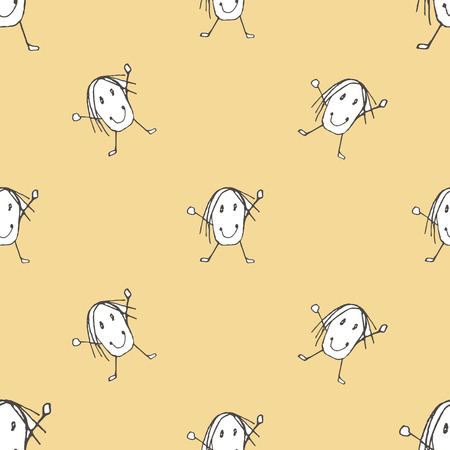 Character with hands up and smile conversational kids seamless pattern design in pastel and black and white colors Stock Photo