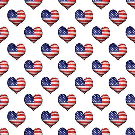 Conversational seamless pattern design with heart shape usa flag motif
