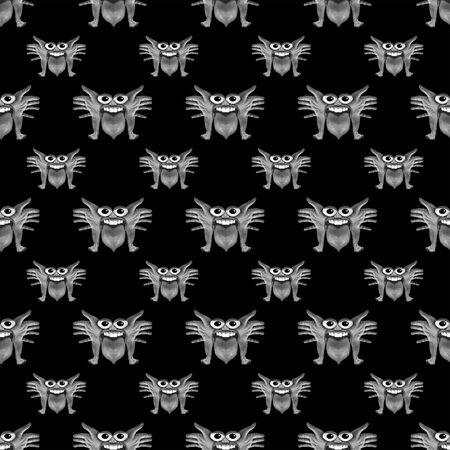 creepy alien: Digital art photo collage dark fantasy monster illustration seamless pattern made form parts of human bodies