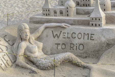 myers: RIO DE JANEIRO, BRAZIL, JANUARY - 2016 - Sand scuplture at copacabana beach in Rio de Janeiro, Brazil