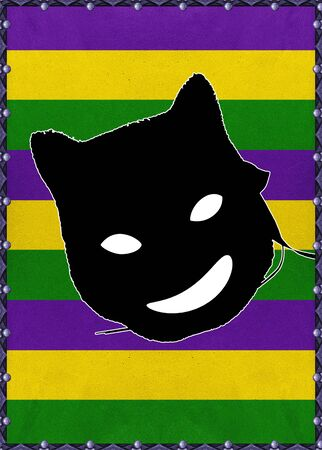 new orleans: Mardi gras celebration background with cat mask graphic laughing against striped colored background