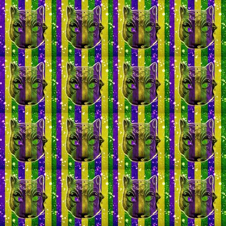 new orleans: Mardi gras celebration background pattern with cat mask photo against striped colored background Stock Photo
