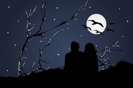 highs: Dark silhouette illustration scene of couple sitting at highs watching the view