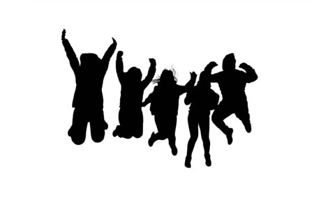 black people: Group of people jumping black silhouettes isolated on white background