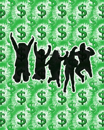 fortune concept: Success or fortune concept illustration with people jumping black silhouettes against dollar sign pattern background
