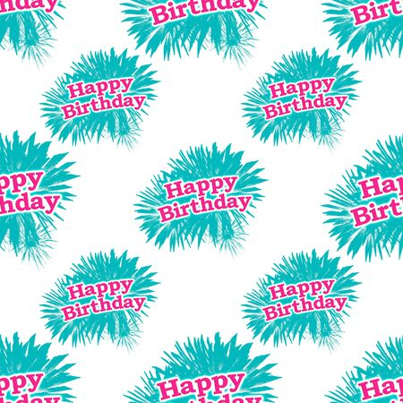 conversational: Conceptual conversational seamless pattern design with happy brithday letters against fireworks motif over white background