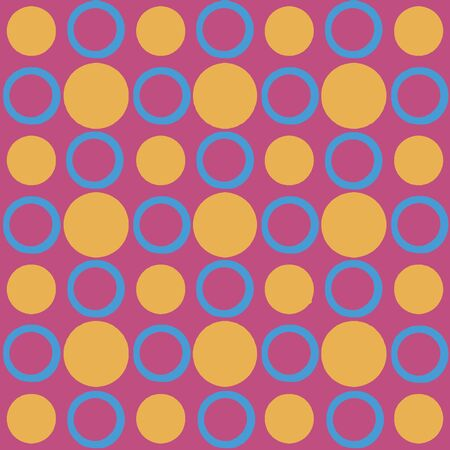 Digital abstract circles motif geometric seamless pattern design in mixed colors