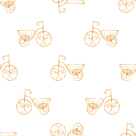 conversational: Retro bicycles motif conversational seamless pattern design in brown and white colors