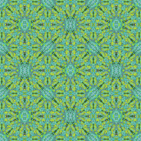 Digital collage technique modern ornate seamless pattern mosaci design in vivid yellow and turquoise colors
