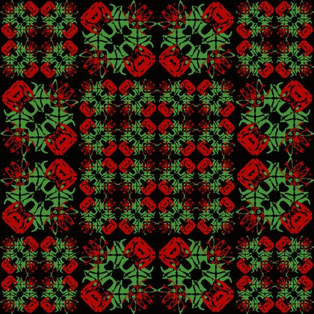 Digital collage technique asian ornate patchwork seamless pattern design in vibrant red and green tones against black background