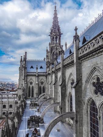 San Juan Basilica, a neo gothic style  church located at the historic center of Quito, Ecuador Stock Photo