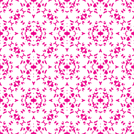 Digital collage technique decorative ornate seamless pattern design in magenta and white colors