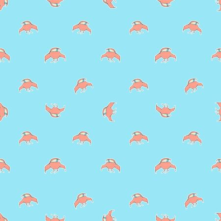 conversational: Conversational style seamless pattern design with spaceship drawings motif in red and cyan pastel colors Stock Photo