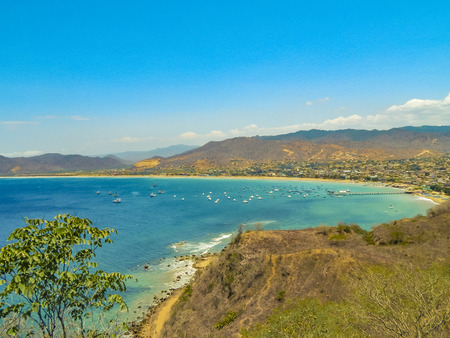 Aerial view landscape scene of Puerto Lopez, a small touristic beach located in the ecuadorian coast Stok Fotoğraf