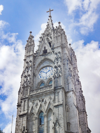 Low angle view of neo gothic style San Juan Basilica at historic center of Quito, Ecuador
