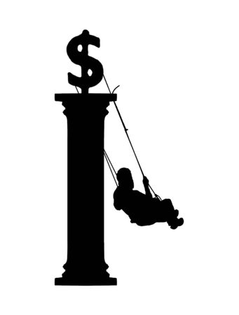 Financial or economic conceptual design with man swinging money symbol at top of greek style column Stock Photo
