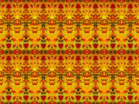 Digital collage technique modern ornate baroque seamless pattern design in vivid colorful warm colors Stock Photo