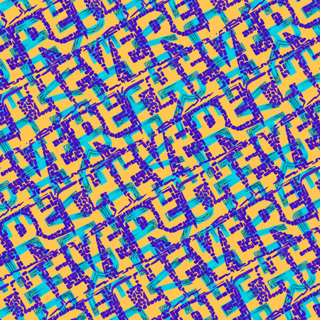 Conversational seamless typographic pattern design with chevere word letters motif in vibrant mixed colors
