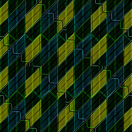 technlogy: Digital art technique futuristic style geometric abstract pattern design background in dark yellow and blue colors Stock Photo