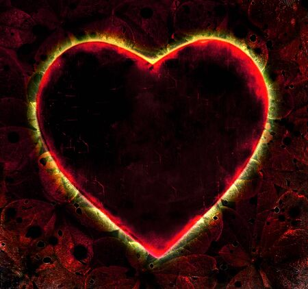 Love or passion concept arden heart shape graphic in red and black colors