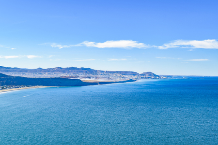 rada: Aerial landscape scene from coastline at Rada Tilly, a vacation spot located in Chubut, Argentina. Stock Photo